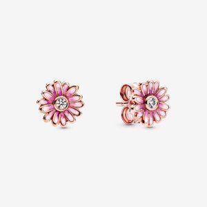 Pandora Pink Daisy Flower Stud Earrings